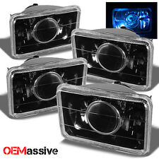 4PC 4x6 H4651/H4652/H4656/H4666 Projector Headlights H4 Conversion Black Lamps