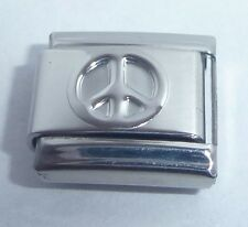 PEACE SIGN Italian Charm - 9mm Shiny Silver Symbol Love fits Classic Bracelets