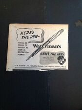S3 Ephemera 1944 Advert Waterman's Here's The Pen