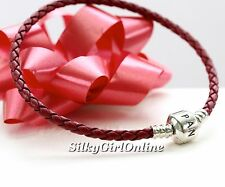 Pandora Single Woven Red Braided Leather Bracelet 590705CRD-S3 (7.5inch)