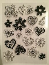Clear Rubber Stamp - Doodle Butterfly, Hearts & Flowers - 19 Individual Stamps