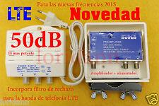 AMPLIFICADOR ANTENA Tv TdT-LTE MASTIL 50dB Valido para 2015 NOVEDAD+Fuente 150mA