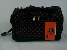 "20"" High Quality 50lb Capacity Travel/Gym/Duffle Bag   Black w/Pink Polka Dots"