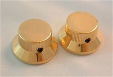 Guitar Parts METAL TOP HAT Skirt KNOBS - Stratocaster style - Set of 2 - GOLD