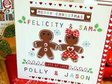 Gingerbread men Christmas card personalised for couple CHRISTMAS special card