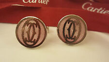 Cartier .925 Sterling Stunning pair Double C Logo 100% Authentic Cuff-links