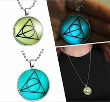 VoguePunk Style Peace symbol Glow in the Dark Stainless Steel Necklace Pendant
