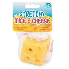 Stretchy Cheese Stress Relief Ball Squashy Holey Rubber Cheese Block & Mice 9268