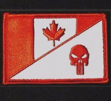 CANADA FLAG PUNISHER SKULL TACTICAL MILITARY MORALE WHITE RED VELCRO PATCH