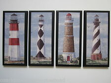 Lighthouses wall decor sign set 4pc nautical plaques coastal lighthouse pictures