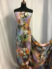 "New Italian Soft Silky Crepe De Chine Floral Print Fabric 44""110cm Jane Dress Jj"