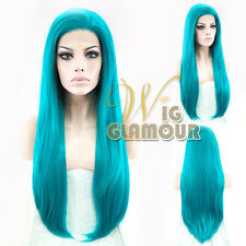 "Long Straight 28"" Turquoise Blue Lace Front Heat Resistant Synthetic Hair Wig"