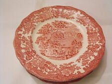 """Royal Worcester Palissy Thames River Scenes Pink Red Avon Scenes 8"""" Plate"""