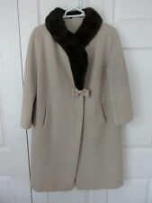 1960's Vintage Coat with Fur Collar Lined Cream Boucle Brown Fur Bow Med VGUC