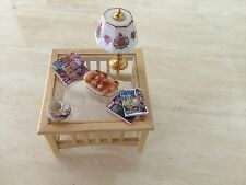 Dolls house miniature Wood & Glass Table With Displayed Items