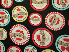 SOCK MONKEY CIRCLES OVERALL MONKEYS COTTON FABRIC FQ