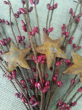 Primitive country farmhouse 12 inch red berry pick w/ rusty stars rustic cabin