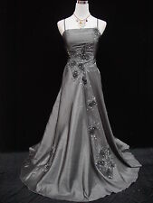 Cherlone Plus Size Satin Grey Lace Sparkle Ball Gown Wedding/Evening Dress 24-26