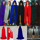 Retro Cosplay Velvet Cloak Witch Adult Hooded Cape Halloween Party Costume New