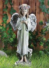 """20"""" Angel Cherub with Blue Bird Flower Crown Statue Yard Art Koi Pond Figure"""