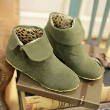 W UK Womens Ladies Ankle Boots Flat PU Leather Winter Warm Fashion Shoes HOT