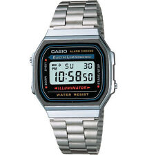 Casio A168W-1 Men's Silver Tone Metal Band Illuminator Alarm Chronograph  Watch