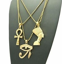 MEN GOLD ANKH, EYE OF HERU & NEFERTITI PENDANT BALL CHAIN NECKLACE SET SS006G