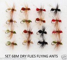 16 Dry trota fly mosche da pesca battenti FORMICHE per mulinello canna linea s68m