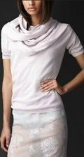 NEW - BURBERRY PRORSUM WOMEN LILAC SCARF DETAIL BOW SILK CASHMERE SWEATER TSHIRT