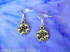 PRETTY TROPICAL PLUMERIA HAWAIIAN FLOWER SILVER DANGLE EARRINGS~STERLING HOOK