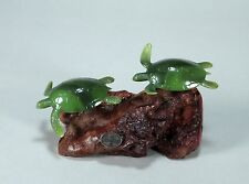 """TURTLE PAIR SCULPTURE """"JADE"""" New direct from JOHN PERRY STUDIO 3in tall Statue"""