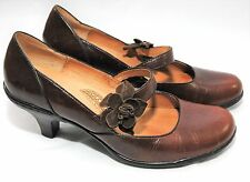 SOFFT Mary Jane Heels Brown Leather Pumps Dress Shoes Kitten Strap Size 8 1/2 M