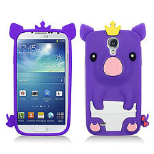 Samsung Galaxy S4 S IV Rubber SILICONE Skin Soft Gel Case Phone Cover Purple Pig