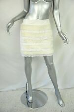 FENDI White LEATHER+ FUR+LACE Banded A-Line Short Mini Skirt Layered M 42