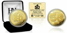Broncos vs Panthers Super Bowl 50 Dueling Logo Gold Plated Flip Coin