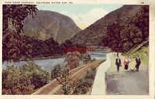 VIEW FROM HIGHWAY DELAWARE WATER GAP, PA 1930 people walking on road