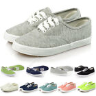 New Ladies Womens Canvas Lace Up Flat Shoes Pumps Casual Plimsoles Trainers