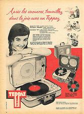 PUBLICITE ADVERTISING 045  1958  TEPPAZ   éléctrophone mallette