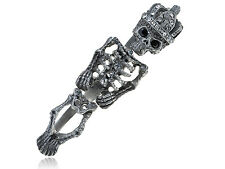 Unique Antique Three Ring New Clear Crystal Rhinestones Skeleton Bone Ring New