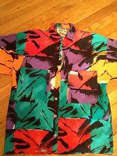Vtg 80s 90s Leggoons Aloha Button Shirt Skateboard Surf Colorful USA made MEDIUM