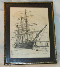 "8.5"" VINTAGE STAR OF INDIA SHIP SAN DIEGO FRAMED PRINT SIGNED SCOTT KENNEDY '69"
