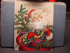 Vintage 1940s CHRISTMAS CARD To Wife w/SANTA w/White Feather Beard, Carries Tree