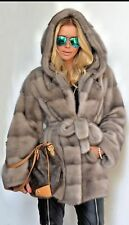 Royal Saga Mink Fur Coat Gray Hood