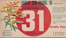 Trolly/Bus pass capital Transit Wash. DC--7/30/8/5/1950-Goldenrod-----37