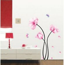 Three Pink Long Flowers Wall Sticker Decal Vinyl Art Home Decor Removeable