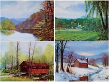 Vintage 1970s FOUR SEASONS Art Prints W. HAROLD HANCOCK Brown County INDIANA