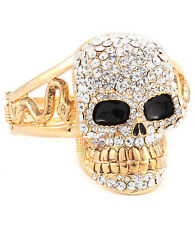 "GLAM Statement Gold  HUGE 2 1/4"" SKULL Bangle Bracelet By Rocks Boutique"