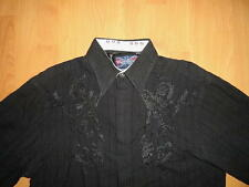 ENGLISH LAUNDRY LONG SLEEVE BUTTON UP SHIRT MENS XL BLACK EMBROIDERY LOGOS