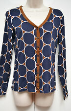 Boden Ladies Cardigan 100% Cotton UK 12 / EU 40 Dark Blue Brown Beige Geometric