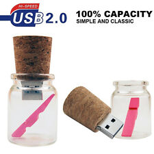New lovely Glass Drift Bottle 16GB USB 2.0 Memory Flash Stick Pen Drive
